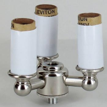 3-Light Lantern Style Cluster Kit with E-12 Base Candle Sockets - Polished Nickel Finish
