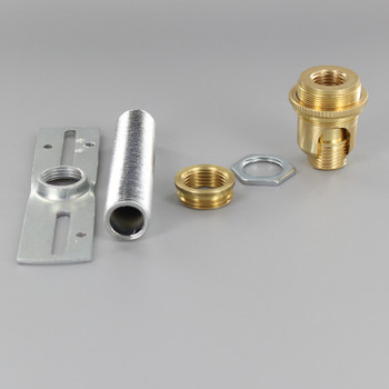 3/8ips. Male Bottom X 1/2ips. Female Top 90 Degree Hang Straight Kit - Unfinished Brass