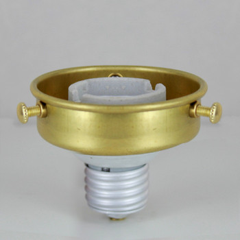 2-1/4in. Unfinished Brass Screw In Holder with Porcelain Two Piece E-26 socket