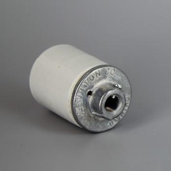 Leviton - E-26 Porcelain Keyless Socket with Ground Screw Terminal and Heavy Duty 1/8-27ips. Cap