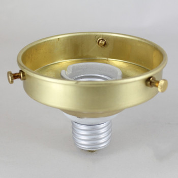 3-1/4in. SCREW IN BRASS HOLDER WITH PORCELAIN TWO PIECE RING TYPE E-26 TO E-26 SCREW-IN ADAPTOR