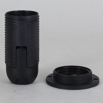 E-14 Black Fully Threaded Skirt Thermoplastic Lamp Socket Shade Ring and 1/8ips Threaded Cap
