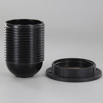 E27 Black Phenolic Fully Threaded Skirt Lamp Holder with 1/8ips Threaded Cap