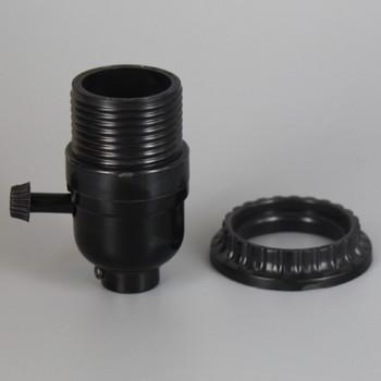 Black E-26 Phenolic Threaded Shell with Shade Ring 3-Way Turn Socket with 1/8ips. Bottom