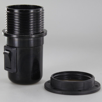 E27 Black Threaded Skirt with Shoulder Rest Toggle Switch Lamp Holder with 1/8ips Threaded Cap