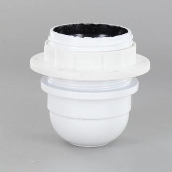 E27 White Phenolic Threaded Skirt Shoulder Stop Lamp Holder with 1/8ips Threaded Cap
