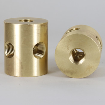 (4)1/4F IPS Side Holes x 1/4F Top Hole x 1/4F Bottom Hole x 1-1/2in. O.D. x 1-3/4in. Tall Unfinished Brass. 6 - Way Disc Armback Large