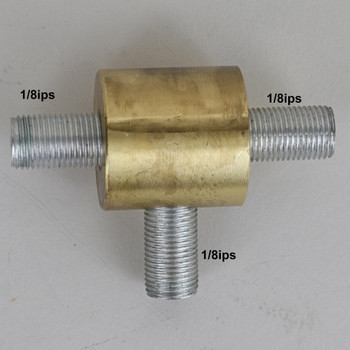1/8ips Threaded - 1in Diameter Tee Fitting Straight Armback - Unfinished Brass