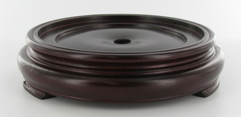 3-1/2in. Recessed Seat Mahogany Finish Round Teak Wood Base with Plain Design Bottom. 1/8ips Slip Through Center Hole and 1-1/2in Counter Sink.