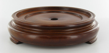 3in. Recessed Seat Walnut Finish Round Teak Wood Base with Plain Design Bottom. 1/8ips Slip Through Center Hole and 1-1/2in Counter Sink.