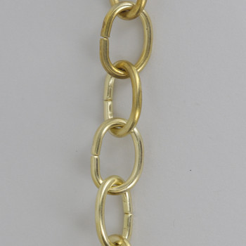 11 Gauge (3/32in.) Thick Steel Small Oval Lamp Chain - Unfinished Brass