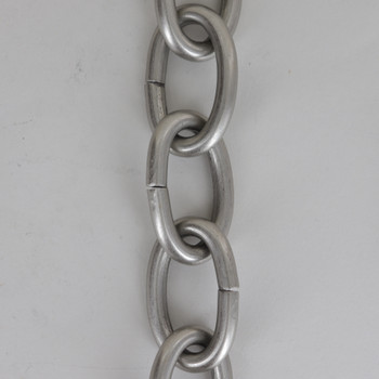 3 Gauge (1/4in.) Thick Steel Oval Lamp Chain - Satin/ Brushed Nickel Plated Finish
