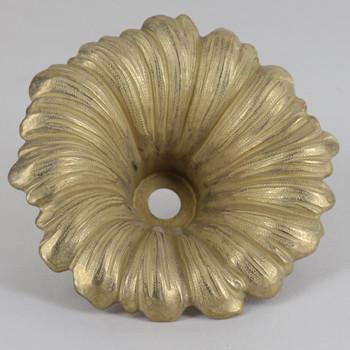 1/8ips - 100mm (4in) Diameter Deep Florral Cast Brass Bobesche Cup - Unfinished Brass