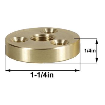 1/8ips Threaded 1-1/4in Diameter Turned Solid Brass Heavy Duty Flange