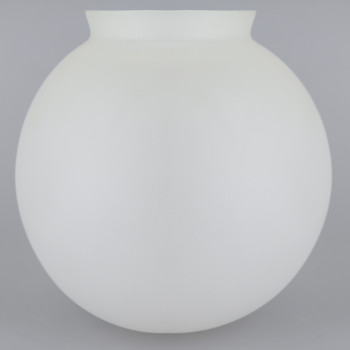 6in. Hand Blown Glass Ball with 3-1/4in. Neck - Cristal Bristol Sand Blasted Frosted Clear - Made in USA
