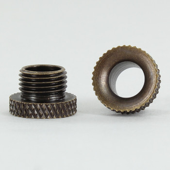1/8ips. Male Threaded Brass Cord Inlet Knurled Bushing - Antique Brass
