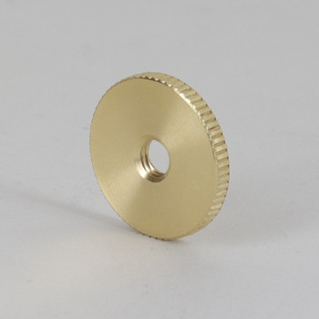 1/4-27 X 1 in Diameter Unfinished Brass Flat Round Knurled Nut