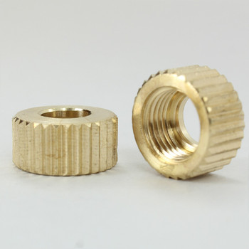 1/8ips. Female Threaded Knurled Brass Bushing - Unfinished Brass