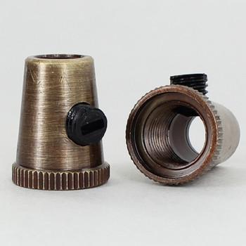 1/8ips Female Threaded Cone Cord Grip with M6 Threaded Nylon Set Screw - Antique Brass Finish