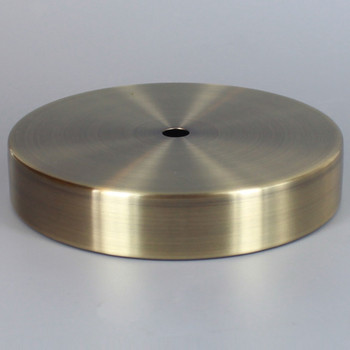 1/8ips Center Hole - 6in Flat Canopy/Base without Wire Way - Antique Brass Finish with Rolled Bottom Edge Felt Return.