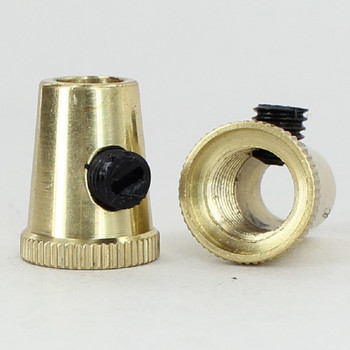 Polished Brass Finish 1/8ips Female Threaded Cone Cord Grip with M6 Threaded Nylon Set Screw