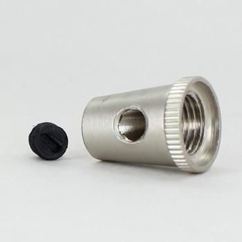 1/8ips Female Threaded Cone Cord Grip with M6 Threaded Nylon Set Screw - Satin Nickel Finish