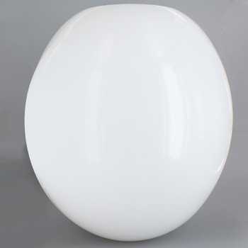 12in Diameter Egg Shaped Acrylic Neckless Ball with 5-1/4in Diameter Hole - White.