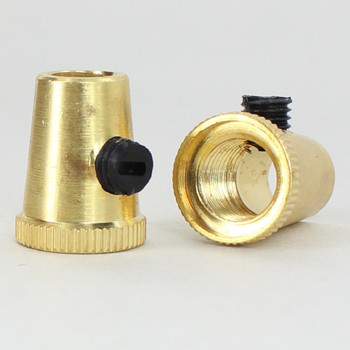 1/8ips Female Threaded Cone Cord Grip with M6 Threaded Nylon Set Screw - Unfinished Brass