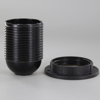 Black E-26 Base Phenolic Socket with Threaded Outer Shell and 1/8ips. Cap - Includes Ring