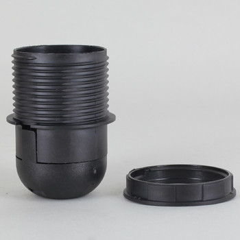 E-27 Black Threaded Skirt with Shade Rest Shoulder Thermoplastic Lamp Socket Shade Ring and Cap
