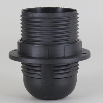 E-27 Black Fully Threaded Skirt Thermoplastic Lamp Socket Includes Shade Ring