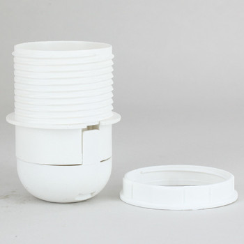 E-27 White Threaded Skirt with Shade Rest Shoulder Thermoplastic Lamp Socket Shade Ring and Cap