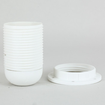 E-27 White Fully Threaded Skirt Thermoplastic Lamp Socket Includes Shade Ring