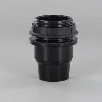 E-12 Black Candelabra Base Phenolic Threaded Socket with Shoulder and Ring