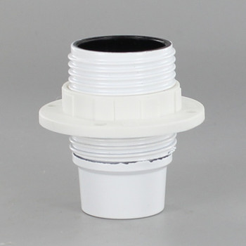White Candelabra Base Phenolic Socket with Threaded Outer Shell and Ring