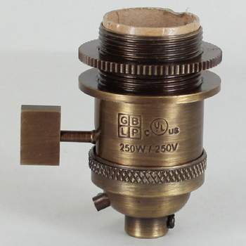 Antique Brass Uno Threaded Single Turn Square Key Socket Includes Knurled and Smooth Shade Ring