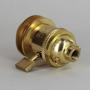 Polished Brass Uno Threaded Single Turn Square Key Socket Includes Knurled and Smooth Shade Ring
