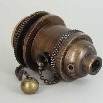 Antique Brass Uno Threaded Pullchain Switch Socket Includes Knurled and Smooth Shade Ring