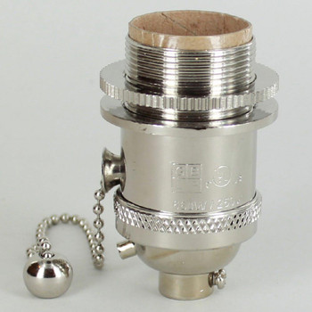 Polished Nickel Uno Threaded Pullchain Switch Socket Includes Knurled and Smooth Shade Ring