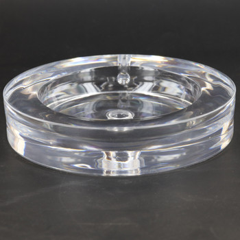 5in Diameter Round Acrylic lamp base with 1/8ips slip(7/16in Center hole and wire exit.