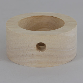 3in Diameter Plain Straight Edge Unfinished Wood Base with Recessed Bottom Hole and Wire Exit