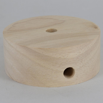 3.5in Diameter Plain Straight Edge Unfinished Wood Base with Recessed Bottom Hole and Wire Exit