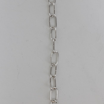 13 Gauge (1/16in) Steel Small Rectangle Steel Chain - Polished Nickel Finish