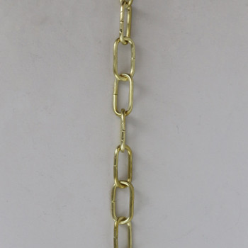 1/16in Thick Solid Brass Small Rectangle Steel Chain - Unfinished Brass