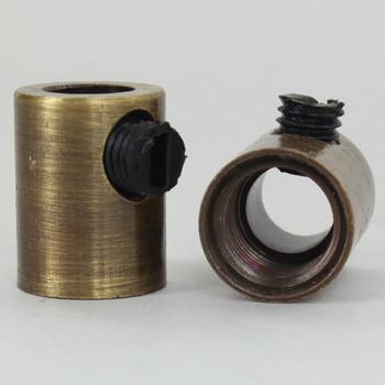 1/8ips Female Threaded Strain Relief and Nylon Set Screw - Antique Brass