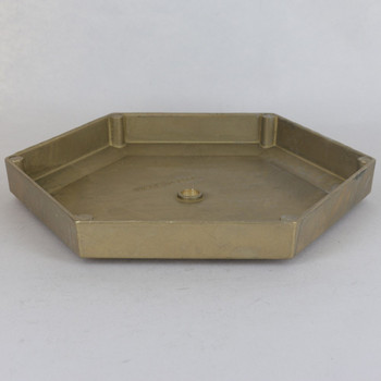 8in DIameter Cast Brass Hexagon Canopy/ Backplate with 1/8ips Slip Center Hole. Top has 5-1/2in Seat. MEasures 8in Diameter X 1in Height
