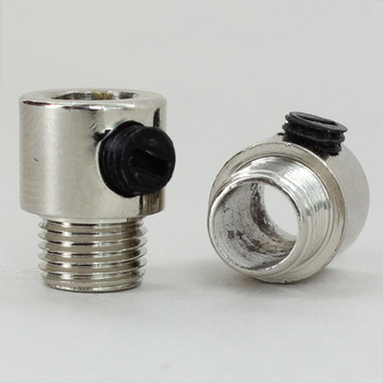 1/8ips. Male Threaded Strain Relief with Nylon Set Screw - Polished Nickel Finish