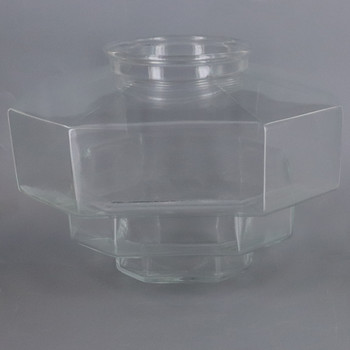 9in Diameter Clear Stepped Glass Cube Glass with 6in Necked Fitter