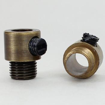 1/8ips. Male Threaded Strain Relief with Nylon Set Screw - Antique Brass