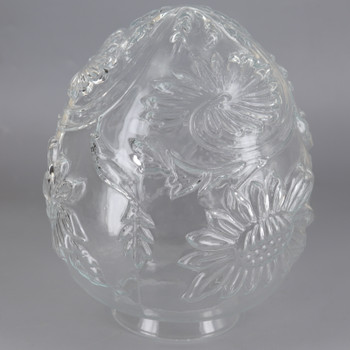 4in Fitter Clear Floral Egg  Glass Shade